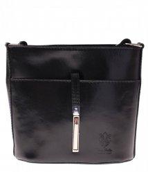 Kožená kabelka listonoška z velmi dobré kůže černá