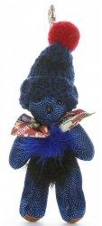 Přívěšek ke kabelce Medvídek ve vlněné čepici s přírodním mývalem modrý