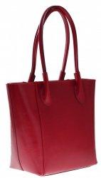Kožená kabelka Genuine Leather dlouhé madla červená