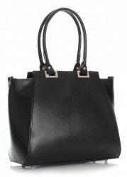 Elegantní kožená kabelka černá