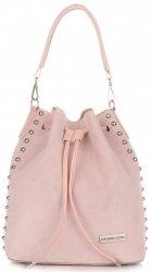 Módní kožená kabelka Vittoria Gotti Made in Italy s kosmetickou růžová