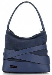 módní a elegantní kožená italská kabelka Vittoria Gotti Tmavě modrá