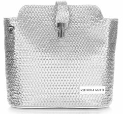 Elegantní Kabelka listonoška Vittoria Gotti stříbrná