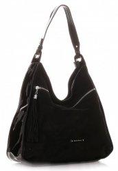 Dámská kabelka Silvia Rosa XL Přírodní semiš/Ekologická kůže Černá