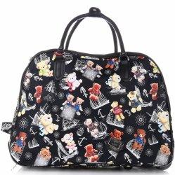 Cestovní taška na kolečkách s výsuvnou teleskopickou rukojetí Or&Mi Teddy Bear Multicolor - černá