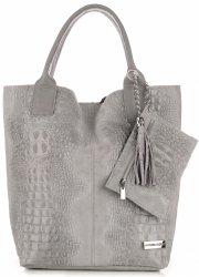 Kožené Kabelky VITTORIA GOTI Made in Italy Shopperbag Aligator Světle šedá