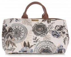 Univerzální kožená italská kabelka Vittoria Gotti květiny modrá/multicolor