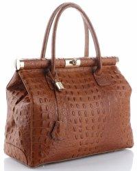Kožené kabelky kufříky XL vzor Aligátor Genuine Leather Zrzavá
