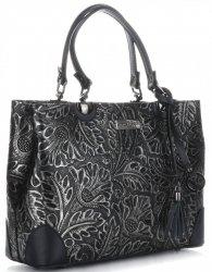 Elegantní kožený kufřík Vittoria Gotti černý se stříbrem