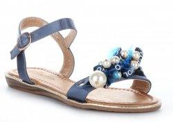 Sandały Damskie z koralikami Niebieskie