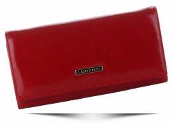 Klasyczny Skórzany Portfel Damski firmy Lorenti Czerwony