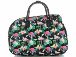 Mała Torba Podróżna Kuferek Or&Mi Flamingil Multikolor - Czarna