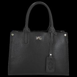 Vittoria Gotti Klasyczny Kuferek Skórzany Made in Italy Czarny
