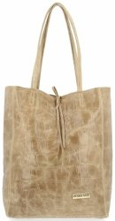 Vittoria Gotti Włoski Shopper XL Uniwersalna Torba Skórzana do noszenia na co dzień z modnym motywem Żółwia Beżowa
