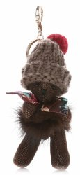 Kľúčenka na kabelku medveďa vo vlnenej čiapke as prírodným psíkom mývalovým zlotým