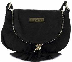 Malé kožené tašky Vittoria Gotti sú vyrobené výlučne z prírodnej semišovej čiernej