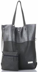 Vittoria Gotti veľké talianske kožené Shopper XXL s taškou Ideálne pre príležitostné a nakupovanie sivá