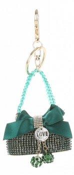 Přívěšek ke kabelce  Elegantní kabelka s mašličkou a zirkony zelená