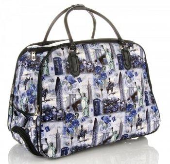Cestovní taška na kolečkách s výsuvnou rukojetí Or&Mi New York/London Modrá