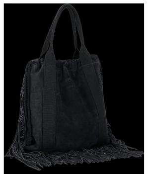 Vittoria Gotti Italské Kožené Dámské Kabelky Shopper Bag Boho Style Černá