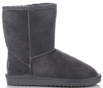 Kožené Dámské boty sněhule šedé