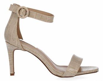 Béžové dámské sandály na podpatku se zvířecím motivem Bellucci