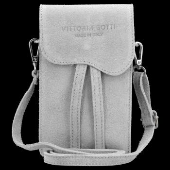 Vittoria Gotti Univerzální Kožená Kabelka Listonoška Světle šedá