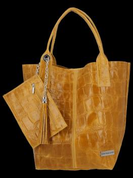 Univerzální Kožené Kabelky Shopper Bag XL se zvířecím motivem Vittoria Gotti Hořčičná