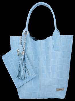 Módní Kožené Dámské Kabelky Shopper Bag XL Vittoria Gotti Světle Modrá