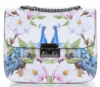 Vittoria Gotti Made in Italy Módní Kožená Kabelka Listonoška Páv Multicolor Bílá