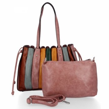 Módní Dámské Kabelky Shopper Bag s kosmetičkou David Jones Špinavě Růžová