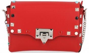 Módní Kožená kabelka listonoška Červená