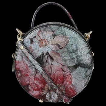 Kulatá Kožená Kabelka Listonoška s květinovým vzorem Vittoria Gotti Černá