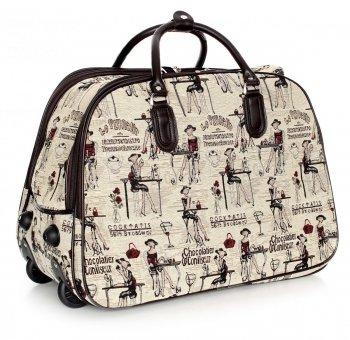 Cestovní taška na kolečkách s výsuvnou teleskopickou rukojetí Or&Mi Chocolatier Multicolor - béžová