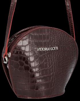 Kožená Kabelka listonoška Vittoria Gotti s motivem aligátora Bordová