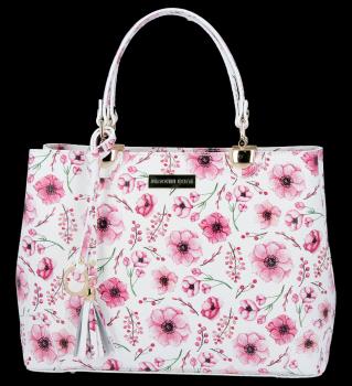 Vittoria Gotti Dámská Kabelka Kožená Kufřík květinový vzor Malovaná Multicolor Růžová