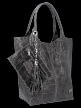 Univerzální Kožené Kabelky Shopper Bag XL se zvířecím motivem Vittoria Gotti Šedá