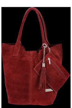 Kožené kabelky Vittoria Gotti Shopper bag Bordová