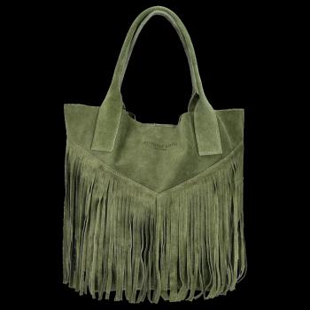 Kožené Dámské Kabelky Shopper Boho Style Vittoria Gotti Zelená