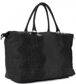 Kožená kabelka kufřík Aligátor černý
