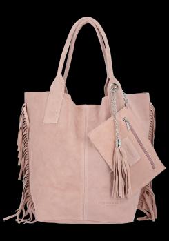 Módní Italské Kožené Kabelky Shopper Bag Boho Style Vittoria Gotti Pudrová Růžová