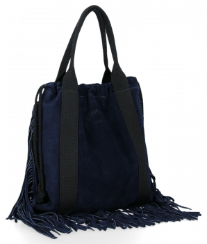 Vittoria Gotti Italské Kožené Dámské Kabelky Shopper Bag Boho Style Tmavě Modrá
