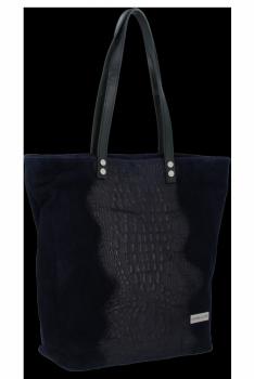 Kožené Dámské Kabelky Shopper s motivem aligátora Vittoria Gotti Tmavě modrá