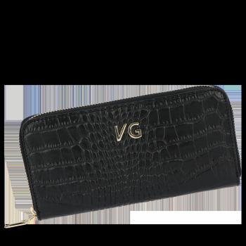 Vittoria Gotti Elegantní Dámská Kožená Peněženka s motivem aligátora černá
