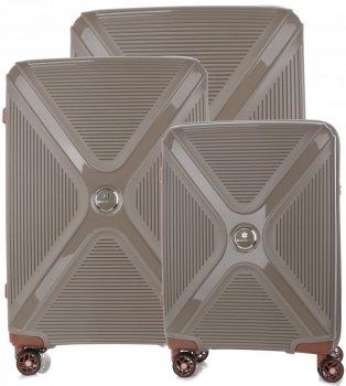 Kufry renomované firmy Snowball Sada 3v1 hnědé