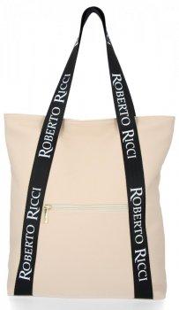 Módní Dámské Kabelky Shopper značky Roberto Ricci Béžová