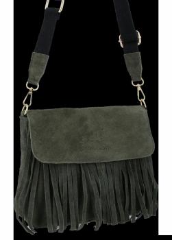 Módní Kožená Kabelka Listonoška Boho Vittoria Gotti Khaki