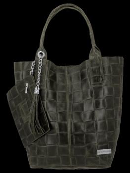 Módní Kožené Dámské Kabelky Shopper Bag XL Vittoria Gotti Zelená