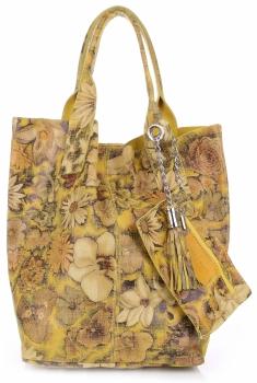 VITTORIA GOTTI Made in Italy Módní Kožená kabelka Shopperbag vzor v květech multicolor - Žlutá