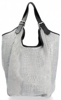 Velká dámská kožená taška italské výroby Shopper XXL Aligator Světle šedá
